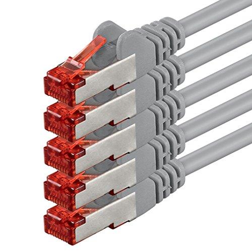 Preisvergleich Produktbild 1aTTack CAT6 CAT 6 Netzwerk-Patch-Kabel SET (5 Stück) 1m 1 Meter - SFTP - doppelt geschirmt PIMF + GEFLECHT - Twisted Pair mit 2 x RJ45 Stecker und vergoldeten Kontaktflächen - grau