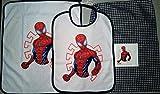 Set asilo 3 pezzi, Disney - Marvel. Bavaglino, salvietta e sacchetto. (spiderman)