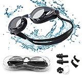 Occhialini da Nuoto per Uomini Donne, Anti-Appannamento Specchio Occhiali Nuoto da Piscina Anti-Perdita Protezione UV Archetto Regolabile, Gratis Clip per Naso Tappi per Le Orecchie
