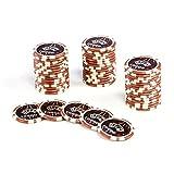 50 Poker-Chips Laser-Chips OCEAN-CHAMPION-CHIP Wert 10000-12g Metallkern Poker Texas Hold`em Black Jack Roulette - Kanten abgerundet - braun