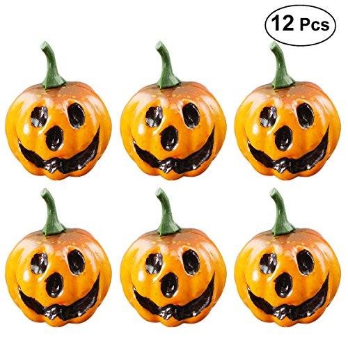 Amosfun 12 stücke Simulation Kleine Kürbisse Geschnitzte Scary Gesicht Tischdekoration Halloween Dekoration Party Supplies Foto Requisiten