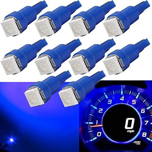 T5 Lampadina LED per cruscotto Lampadina a led per auto a 12V Blu 1-SMD 5050 Sostituisci 74 37 286 18 27 (confezione da 10)