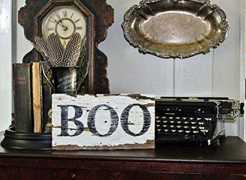 istiWood Halloween-Boo-Schild Vintage Salvage Scheune Holz Reclaimed White Chippy Paint Farmhouse Decor Architectural Sign Party Decor Herbst Decor