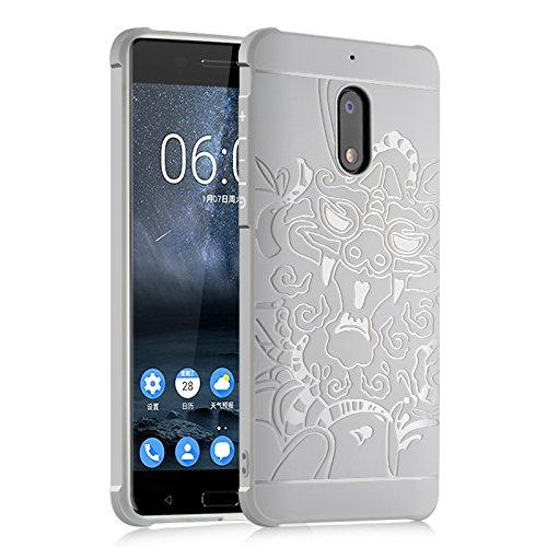 SMTR Nokia 6 Hülle mit Silikon TPU Material und Farblich Muster Schutzhülle Handytasche für Nokia 6 -Grau Drache