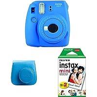 Fujifilm Instax Mini 9 - Kit Cámara instantánea + Funda, color Azul (Cobalt Blue)