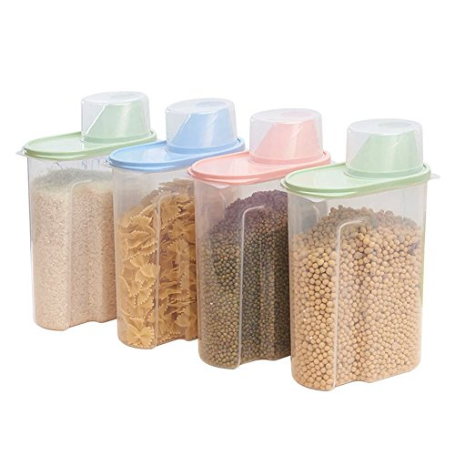 Juego de 4 recipientes de plástico para almacenamiento de alimentos en la...