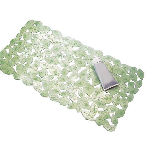 mDesign Alfombra antideslizante ducha – Alfombrilla baño color verde – Un elemento de seguridad imprescindible contra caídas y resbalones – Alfombra bañera con diseño de hojas