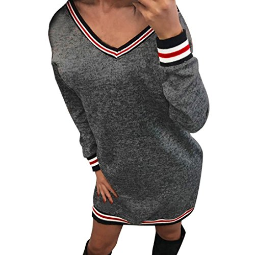 Kleider , Frashing Damen Kleider Bodycon Bleistiftkleid Mini Strickkleid Pulloverkleid Abendkleid Gestreiftes Patchwork V-Ausschnitt Minikleid Party Abend Casual Dress (M, Grau) (Gestreiftes Kleid Herz)