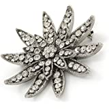 klarer Swarovski-Kristall, Silberton, 3D-'Lotus'-Brosche