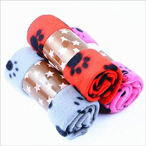 Sotoboo Pet Decke Hundedecke Cat Decke Puppy Decke Premium Fleece Schlaf Matte Pad Bett Bezug Kissen mit Pfotenabdruck für Katzen Welpen zu Hause, Bett, Kiste, Couch & Auto