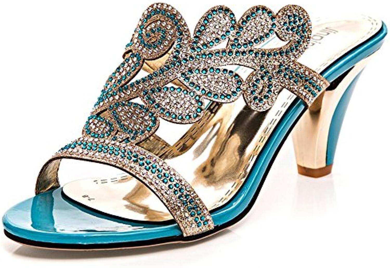 MeiMei Hembra con Áspero High-Heeled Sandals Expuestos Ranurado Inferior Compuesto Dulce