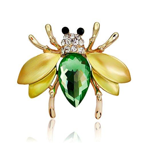 Skyllc® Charme Frauen Künstliche Kristall Tier Biene Strass Brautstrauß Brosche Pin Schmuck für Dressing Dekor Gelb-grün