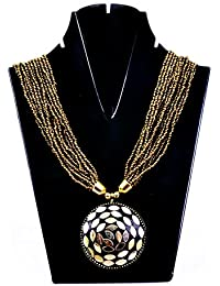 The Alice Wonderland Stunning Golden-Black Multiple Chain Necklace With Pendent For Women And Girls