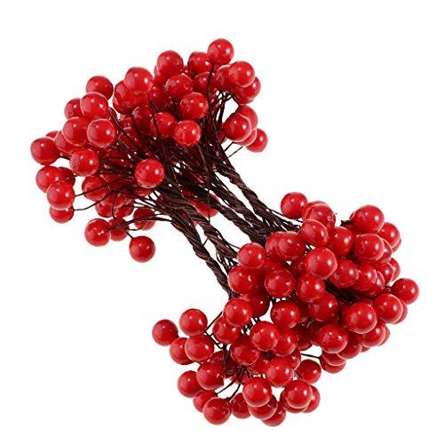 B blesiya ramo bacche mirtilli artificiali fiore finta decorazione feste natale matrimonio accessori - rosso 1