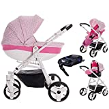 Friedrich Hugo Easy Comfort | 4 in 1 Kombi Kinderwagen + ISOFIX | Farbe: Rose & Leo Fabric