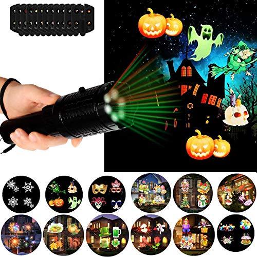 (Suaver 2-in-1-LED-Projektor-Lichter, wasserdichte Hand-Taschenlampe, Urlaubs-Lichter, 4 Folien, Innen- und Außendekoration, für Zuhause, Garten, Party, Geburtstags-Dekoration 12 Slides)