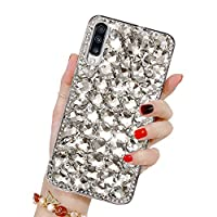 Bling Diamond Case for Galaxy A50, HMOON 3D Handmade Sparkle Glitter Crystal Rhinestone Hard PC Back Cover + Soft TPU Frame Protective Case for Samsung Galaxy A50, White