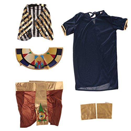 Sharplace Set Di Costume Per Bambini Egiziana Faraone Di Egitto Top Pantalloni Mantello Halloween Carnevale - XL