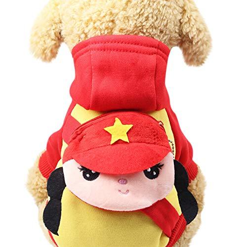 (Haustier Kleidung, Niedlicher Hund Hoodie Sweatshirts Pullover mit Tasche Cartoon Drucktes Hemd(Rot, XXL))
