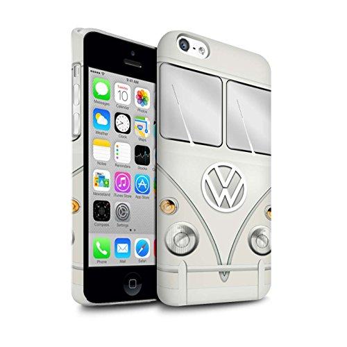 STUFF4 Glanz Snap-On Hülle / Case für Apple iPhone 5C / Fjord Blau Muster / Retro T1 Wohnmobil Bus Kollektion Perlweiss