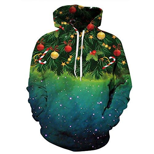 Leapparel Unisex 3D Weihnachtsbaum Grafik Druck Weihnachten Hoodie Hässliches Sankt Weihnachten Kapuzenpulli Kostüm für Frauen Damen (Passen Weihnachtsbaum)