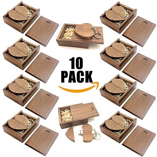 A plus+ 10 pezzi memoria unità flash usb 3.0 da 16 gb con scatola di legno cuore chiavetta usb 3.0 per nozze