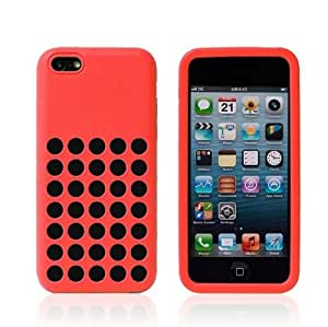 Ultra Slim Silicon Colourful Case for New Apple iPhone 5C Retro Dots Hole (Pink)