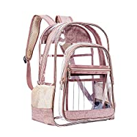 XHONG Heavy Duty Clear Backpack,See Through Clear Transparent Backpack,PVC Large Multi-Pockets Bookbag with Reinforced Straps for School, Work,Travel