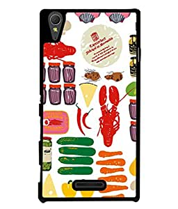PrintVisa Designer Back Case Cover for Sony Xperia T3 (The Pickle Shop Colourful Design)