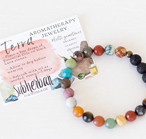 Subherban Handgefertigt ätherischen Ölen Aromatherapie Armband Schmuck-Terra-Lava Stein Chakra Diffusor für Frauen