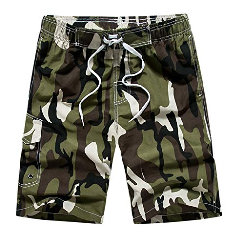 Grüne Velour Hose (YULAND Herren Hose, Männer Casual Camouflage Druck Strandtasche Surfen Schwimmen Lose Kurze Hosen)