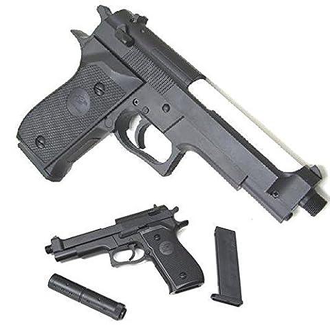 Double Eagle M22 Airsoft Spring/Federdruck Pistole in Schwarz, unter 0.5 Joules, GRATIS 2000 BULLDOG BBS 0.20G