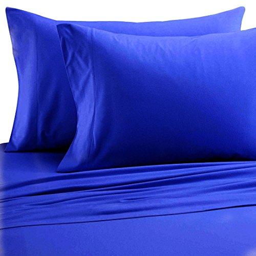 FGDJTYYJ Einfarbig Seidige Bettwäsche Set Schlafzimmer Polyester Premium bettwäsche 4 teilige 1 Bett matratze, 1 bettwäsche,2 Kissen Fällen, Blue, König -