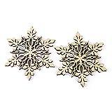 HuntGold 100Pack Holz Schneeflocke Weihnachten, Anhänger Xmas Tree Aufhängen Ornament ideal für Tags Karte machen Scrapbooking (Spitze Ende)