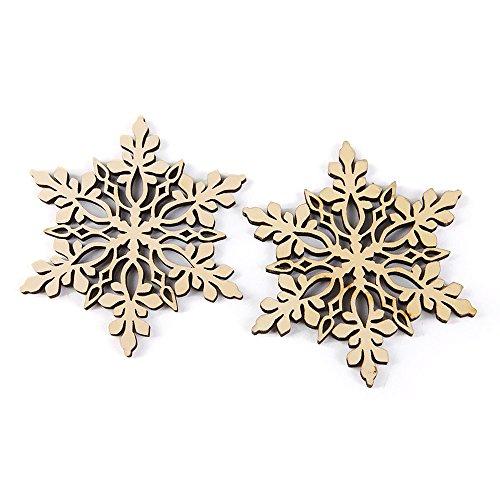 HuntGold 10Pack Holz Schneeflocke Weihnachten, Anhänger Xmas Tree Aufhängen Ornament ideal für Tags Karte machen Scrapbooking (Spitze Ende) (10 K Anhänger)