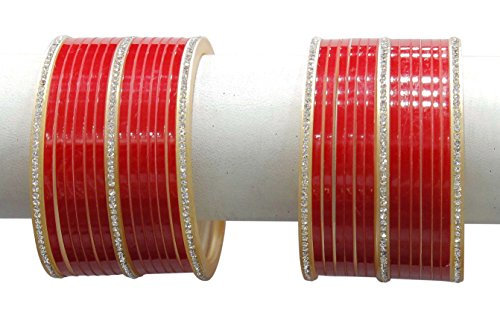 Muchmore Gorgeous Red Brass Made Bridal Chura Bangle Set For Women Wedding (2.60 IN)