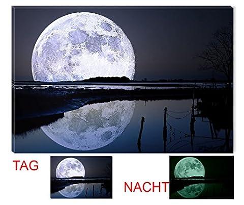 Startoshop Wallart, nachtleuchtendes Leinwandbild, Der Vollmond im Wasser, Natur.
