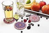 LAZARAH® Design Untersetzer Set für Gläser, Tassen, Vasen, saugfähige Keramik mit Korkrücken, Boho, Mandala, orientalischer marokkanischer Stil - 3
