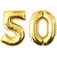 Globo de lámina 50 dorado Número enorme 100 cm rellenable con helio o aero fiesta de cumpleaños