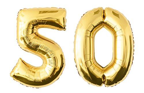 Folienballon 50 gold Zahlenballon Luftballon Riesenzahl Party Hochzeit Kindergeburtstag Geburtstag
