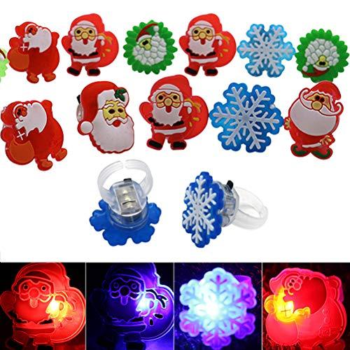 (FineInno 50 Stück Weihnachten LED Fingerlichter Christmas Glow Ring Blinkend Ringe Fingerlampe Flashing Finger Spielzeug für Täntze, Musikfestival,Party,zufälliger Stil (50 Stück Ringe))