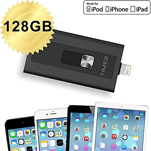 time2® - 128GB Flash Drive iPhone connettore Lightning - USB 3.0 - Dispositivi iPhone - iPad - MacBook - Computer - Laptop - Certificato MFI