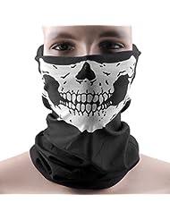 Totenkopf Multifunktionstuch | Skull Karneval Kostüm | Halstuch + Bandana | Winter Schlauchtuch | Paintball Sturmmaske | Maske Für Motorrad Fahrrad Ski | 1 Stk schwarz Für Damen & Herren