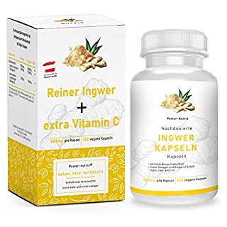 Hochdosierte Ingwer Kapseln + zusätzlich Vitamin C | Vegan - 100% Natur | gemahlene Ingwer Tabletten - hergestellt in ÖSTERREICH (140 Kapseln)