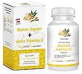 Hochdosierte Ingwer Kapseln + zusätzlich Vitamin C   Vegan - 100% Natur   gemahlene Ingwer Tabletten - hergestellt in ÖSTERREICH (140 Kapseln)