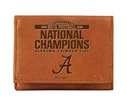 NCAA Alabama Crimson Tide 2015 CFP Champ Embossed Tri-fold Wallet,4.5-Inch by 3.5-Inch,Brown