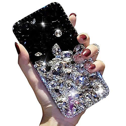 LCHDA Samsung Galaxy S8 Plus Diamant Hülle,Handyhülle Samsung Galaxy S8 Plus Glitzer Weiß Schwarz Bunt Strass Bling Bling Case Glänzend Durchsichtig Kristall Steine Silikon Hardcase Schutzhülle -
