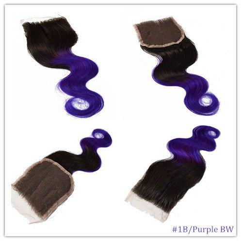 100% cheveux naturels vierges Wave Texture Fermeture Dentelle Suisse sur le dessus 10,2 x 10,2 cm supplémentaire gratuit avec blanchis Couleur 1B/violet Corps ondulés