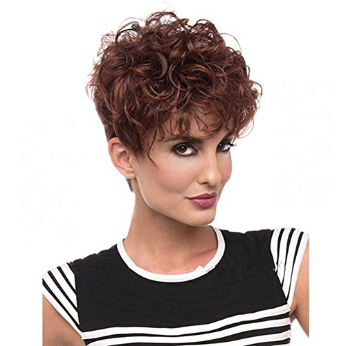 Parrucche alla moda delle donne ricci corte mescolano il marrone con le parrucche dei capelli rossi del vino fiori sintetici della fibra ad alta temperatura con le parrucche