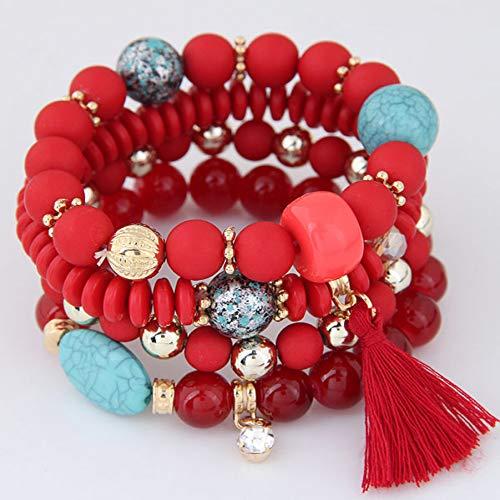 tilayer Candy Farbe Perlen Kristall Quaste Charme Armbänder & Armreifen Elastic Stretch Frauen Schmuck Pulsera ()
